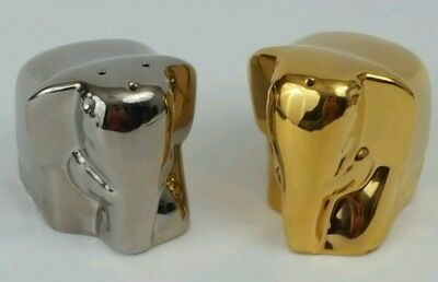 Mlesna Pure Ceylon Elephant Salt & Pepper Shakers in Gold & Silver, No Tea