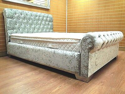 5ft King Size Crushed Velvet Scroll Bed inc mattress & ottoman box RRP £2000!