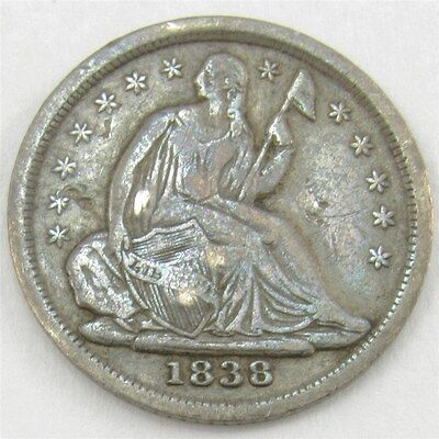 1838 Seated Liberty Half Dime Small Stars - VF (Details) - Silver 5c
