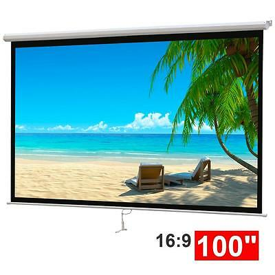 "100"" White Projection Screen Pull-Down Projector 16:9 Home HD Movie Matte"