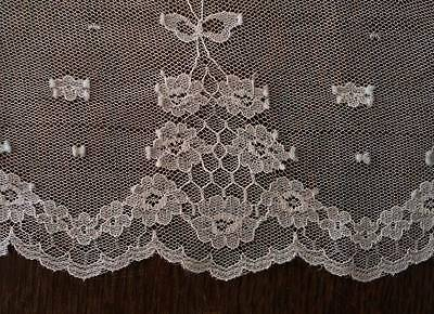"3 Yds Vintage Embroidered French Net Lace Flounce Trim Wide 9"" Bridal Tulle"