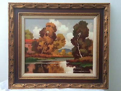 Vintage Rustic Scenic Oil Painting with Frame # 1