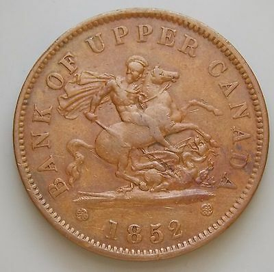1852 PC-6B1 Province Of Canada Colonial Canadian Bank Of Upper Canada Token