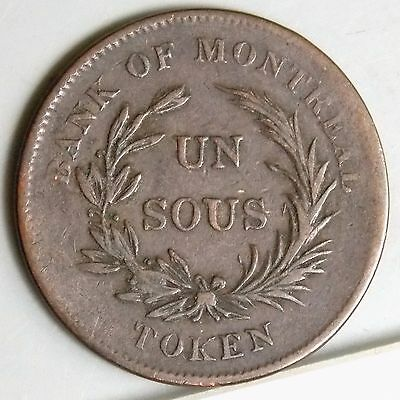 LC-3A1 Lower Canada Canadian Colonial Bank Of Montreal Un Sous 1/2  Penny Token