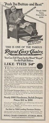 1913 Royal Easy Chair Co. Sturgis Michigan-Antique Recliner Furniture Chair Ad
