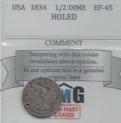 **1834** USA, Capped Bust, Half Dime, Holed