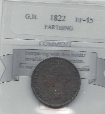 **1822**Great Britain, Farthing,  Coin Mart Graded**EF-45**