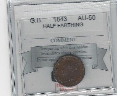 **1843**Great Britain, Half Farthing, Coin Mart Graded **AU-50**