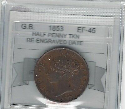 **1853 Re-engraved Date**Great Britain,Half Penny, Coin Mart Graded **EF-45**