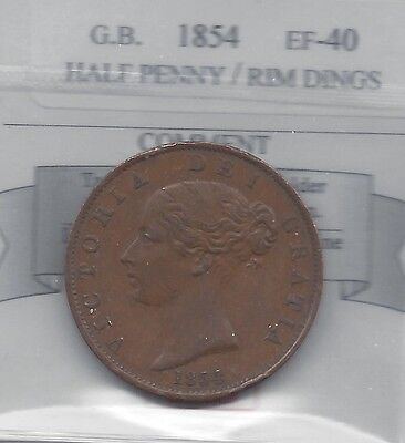 **1854**Great Britain, Half Penny,  Coin Mart Graded**EF-40  Rim Dings**