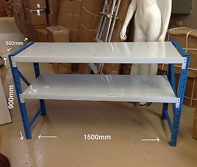NEW Steel Garage Work Bench Shelves Shelving Workshop Workbench Racks 0.9M x1.5M