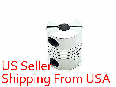 "6 x 6.35mm 1/4"" Flexible Shaft Coupling Rigid CNC Stepper Motor Coupler D20 L25"