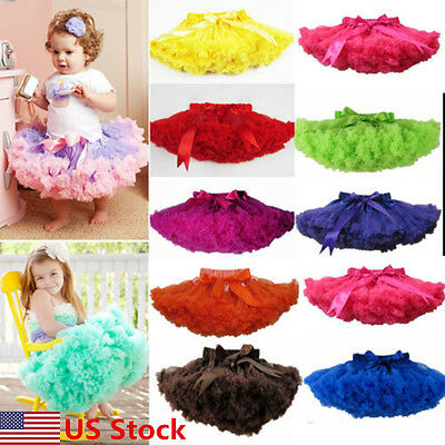 Girls Kids Solid Color Pettiskirt Tutu Dress Ballet Fluffy Skirt Dance Party USA