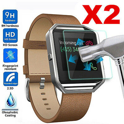 2Pc 9H Premium Real Tempered Glass Screen Protector For Fitbit Blaze Smart Watch