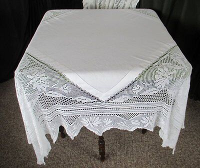 Antique Tablecloth-Irish Linen With Hand Crochet Edge