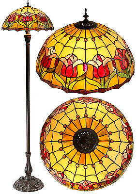 """Large 18"""" Colonial Tulip Style  Stained Glass Tiffany Floor Lamp"""