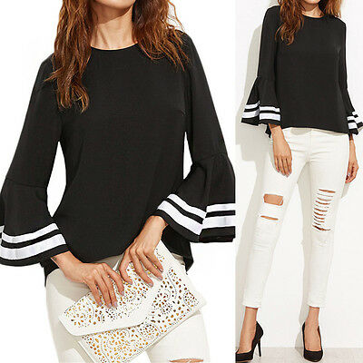 Fashion Women Bell Sleeve Loose Casual Solid Splice Blouse Tops Shirt Jumper New