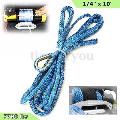 1/4'' x 10' 7700LBs Synthetic Winch Line Cable Rope Blue w/ Sheath for ATV UTV