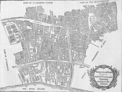 SMITHFIELD. Map of Farringdon ward without, 1750. London c1880 old antique