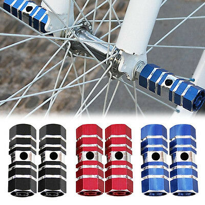 "2pcs Cycling Hollow BMX Bike Bicycle Cylinder Aluminum Alloy 3/8"" Axle Foot Pegs"