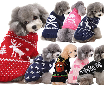 Pet Dog Cat Winter Christmas Sweater Hooded Hoodie Jumper Top Clothing XS-XXL