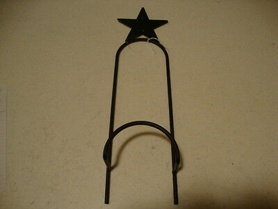 Primitive new black wrought iron STAR single wall plate rack w/ holds 1 plate