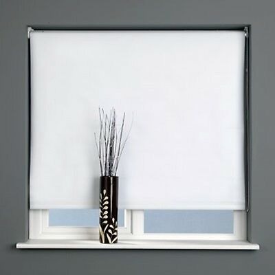 Sunlover THERMAL BLACKOUT Roller Blinds. Plain WHITE. Sizes 60cm to 180cm