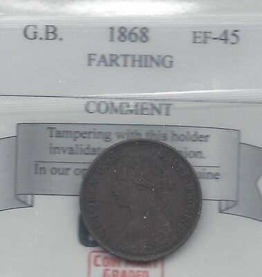**1868**Great Britain, Farthing,  Coin Mart Graded**EF-45**