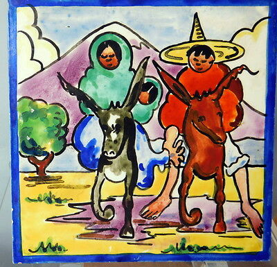 "Vintage MEXICAN SCENIC TILE Man & Woman RIDING DONKEY or MULE 6"" SQUARE"