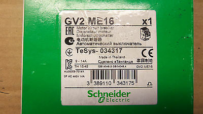 New Schneider Electric GV2ME16 Manual Motor Controller 10HP 9-14 Amp 600v