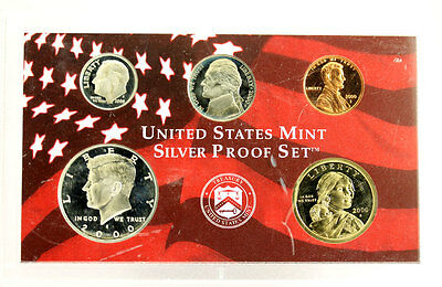 2000 US Mint Silver Proof Set 5 Coins Only No Box or COA