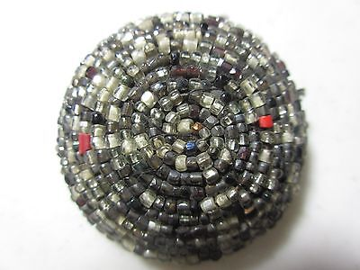 Antique  Vintage Hand Beaded Fabric Button