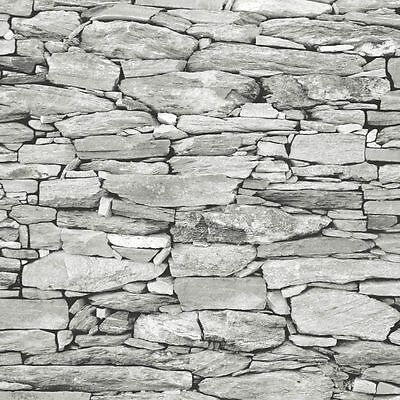 Natural Stone Slate Wall White Grey Realistic 3d Effect Feature Wallpaper 1283