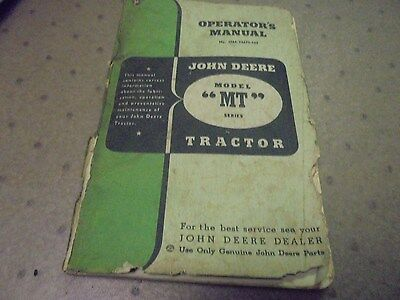 Vintage John Deere Model MT Tractor Operator's Manual