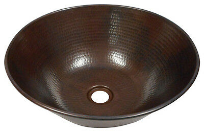 "12"" Round Hand-Hammered Copper Mexican Vessel Sink"