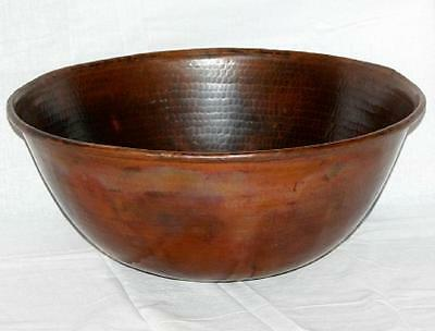 "12"" Round Hand Hammered Copper Mexican Vessel Vanity Bathroom Sink"
