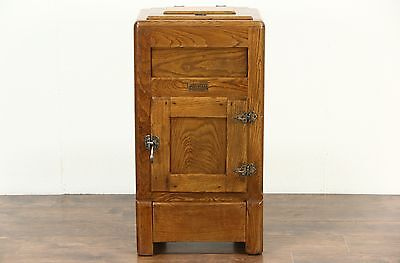 Icebox Ash & Oak 1900 Antique Signed Ashwood by Ranney Refrigerator, MI