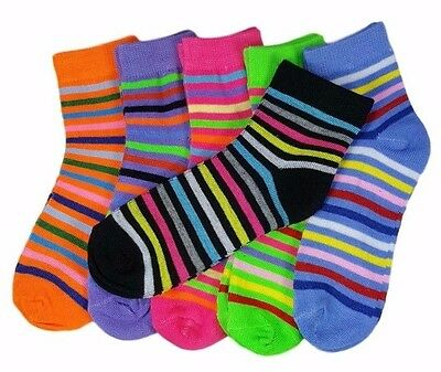 Easter Sale 12 Pairs Girls Kids Toddler Striped Colors Crew Socks Stripes 4-6