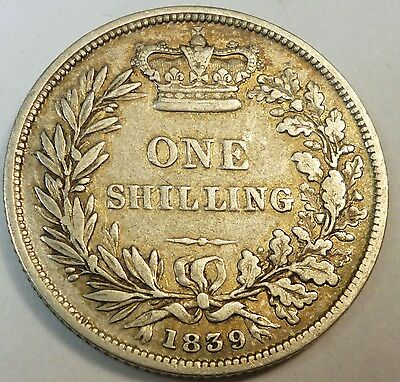 1839 Great Britain / British One Shilling Silver Coin Nice Details