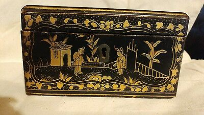 Antique Chinese Export Gilt Black Lacquer Box Tea Caddy w Pewter Canister