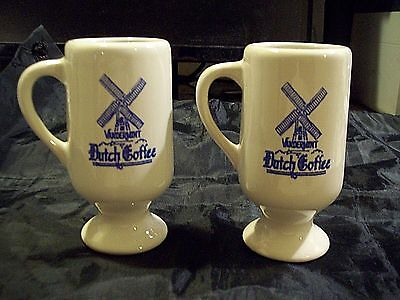 2 Vandermint Dutch Coffee Ceramic Mugs With Blue Delft Windmills Very Nice!!!!
