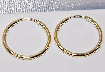9 CT YELLOW GOLD LADIES 16mm SLEEPER HOOP EARRINGS
