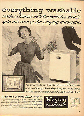 1953 Vintage ad for Maytag automatic washer~50's clothing fashion/washer