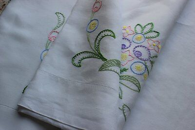 Beautiful hand embroidered vintage linen sheet