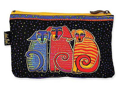 # New LAUREL BURCH Cosmetic Bag CANINE FAMILY Puppy Dog Makeup Pouch Case Purse