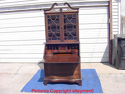 Antique Maddox Tables Secretary Slant Front Desk Bookcase Serpentine