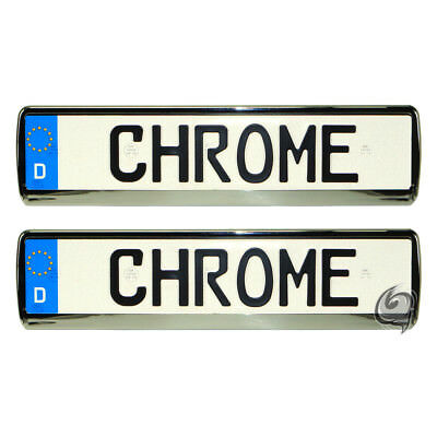 Mercedes 2x Chrome Look License Plate Holder Number Tuning