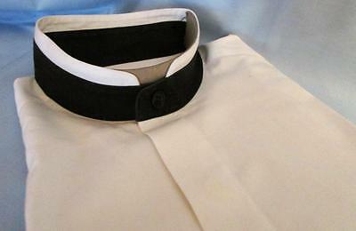 "Bachrach Men's Formal Dress Shirt 15-15.5"" x 34-35"" White w/ Black Band Tuxedo"
