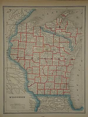 VINTAGE 1892 MAP ~ Wisconsin ~ OLD ANTIQUE ATLAS MAP Free S&H 1892/031617