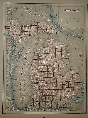 VINTAGE 1892 MAP ~ Michigan ~ OLD ANTIQUE ATLAS MAP Free S&H 1892/031617